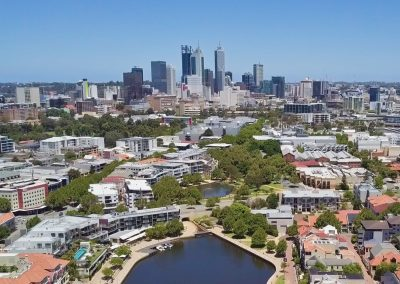 City of Perth from East Perth Aerial Shot