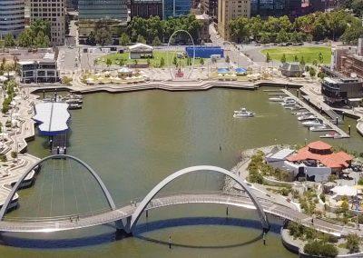 Elizabeth Quay Aerial Shot City Facing