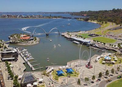 Elizabeth Quay aerial shot river facing