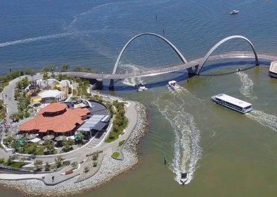 Elizabethe Quay aerial shot river facing