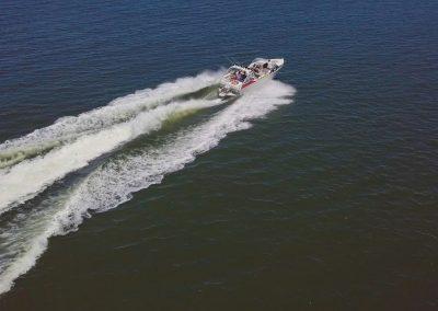 Speed boat aerial shot
